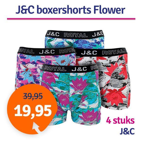 Dagaanbieding - Dagaanbieding JC boxershorts Flower 4-pack dagelijkse aanbiedingen