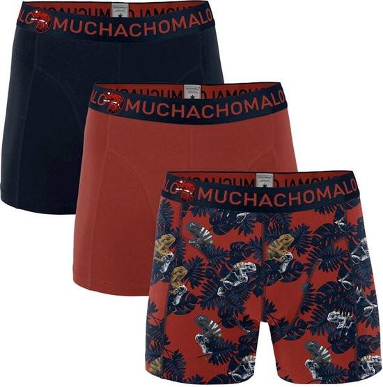 Dagaanbieding - Muchachomalo Boxershorts Chame Print Red Navy 3-pack dagelijkse aanbiedingen