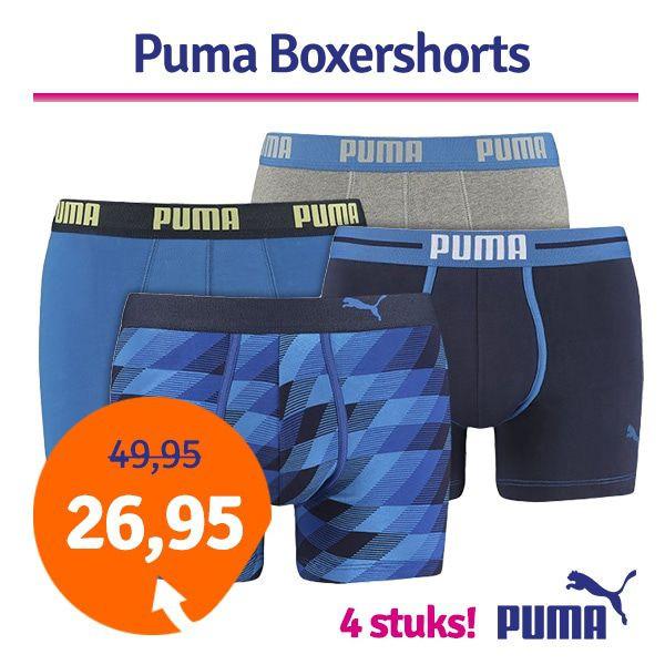 Dagaanbieding - Dagaanbieding Puma boxershorts Blue combi 4-pack dagelijkse aanbiedingen