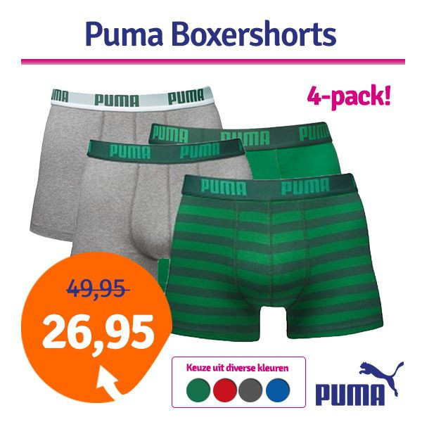 Dagaanbieding - Dagaanbieding Puma boxershorts Stripe 4-pack dagelijkse aanbiedingen
