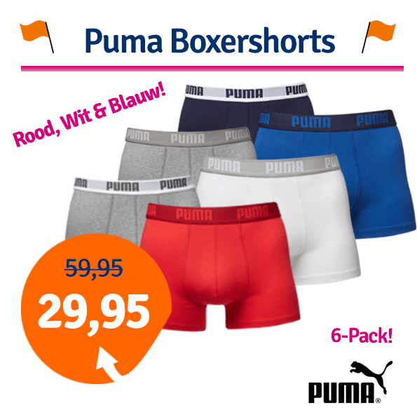 Puma Rood Wit Blauw boxershorts 6-pack