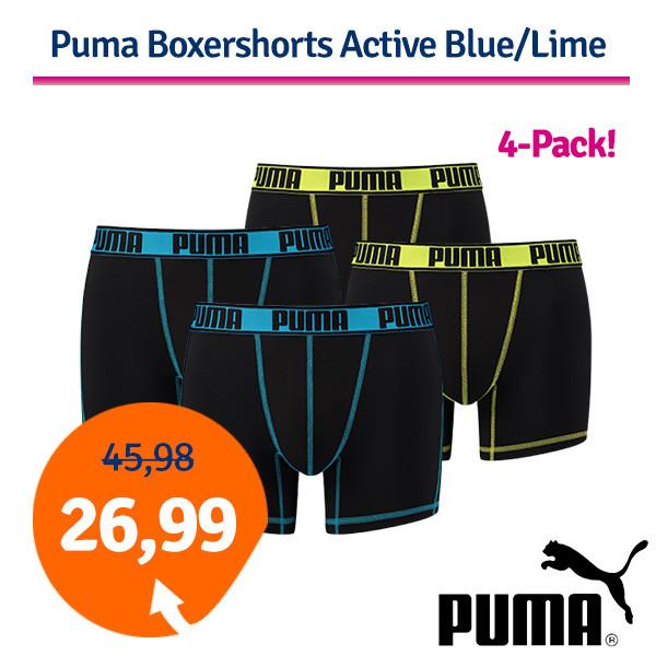 Dagaanbieding - Dagaanbieding Puma Boxershorts Active Blue/Lime 4-Pack dagelijkse aanbiedingen