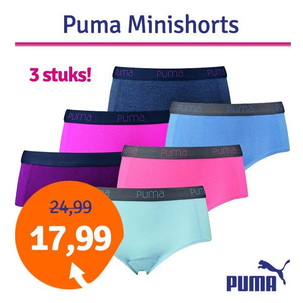 Dagaanbieding Puma Dames minishorts 3-pack