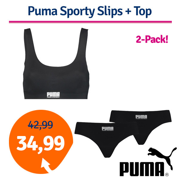 Dagaanbieding Puma Women Sporty Slips + Top Black