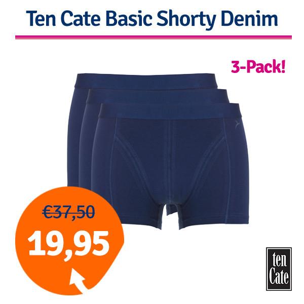 Dagaanbieding - Dagaanbieding Ten Cate Basic Shorty Denim 3-pack dagelijkse aanbiedingen