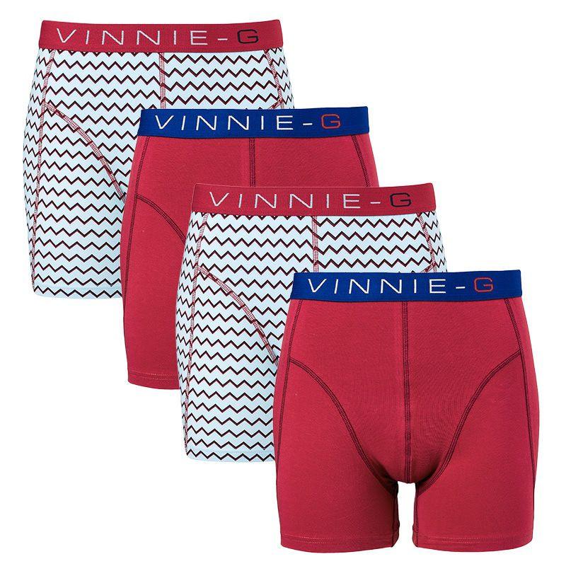 Dagaanbieding - Vinnie-G boxershorts Burgundy - Print 4-pack dagelijkse koopjes