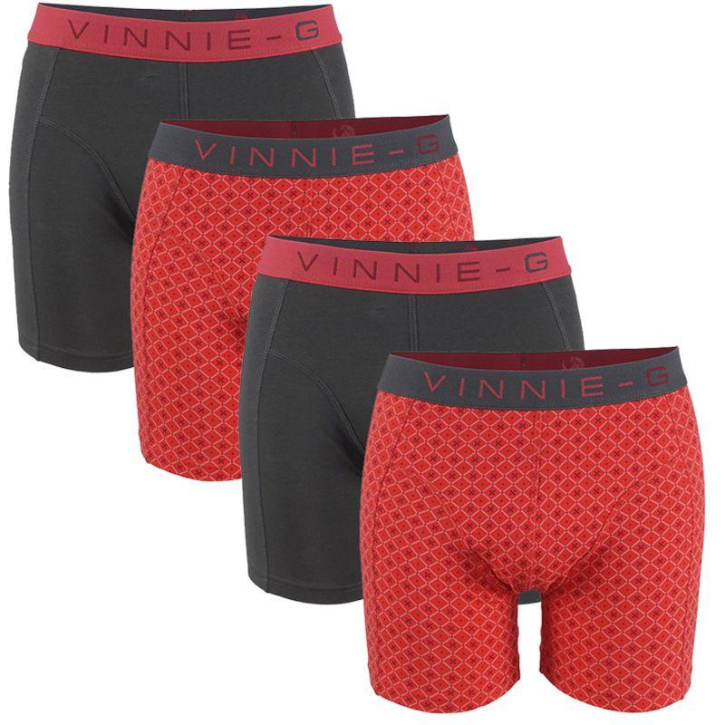 Dagaanbieding - Vinnie-G boxershorts Flamingo Antraciet - Print 4-Pack dagelijkse aanbiedingen