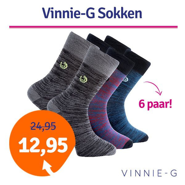 Dagaanbieding - Vinnie-G 6-pack heren sokken hoog dagelijkse aanbiedingen