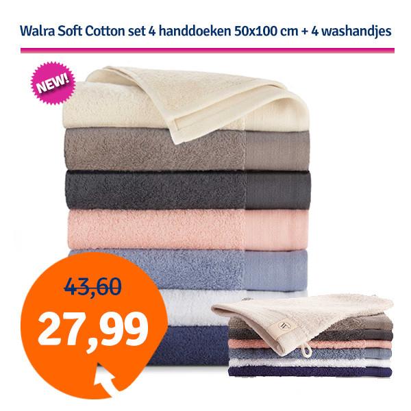 Dagaanbieding - Dagaanbieding Walra Soft Cotton set - 4 handdoeken 50x100 + 4 washandjes dagelijkse aanbiedingen