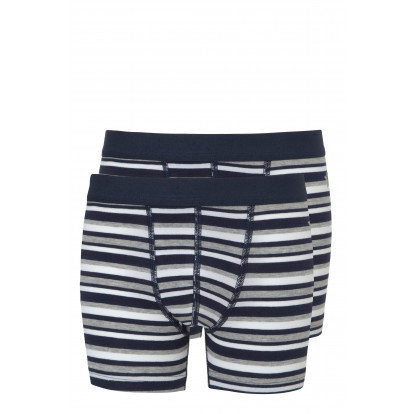 Ten Cate 2-Pack Boys Basic Short Donker Blauw Gestreept
