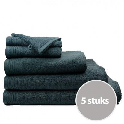 Dagaanbieding The One Badhanddoeken Deluxe 70x140 Voordeelpakket (5 stuks) - Antraciet