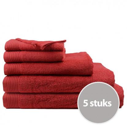 Dagaanbieding The One Badhanddoeken Deluxe 70x140 Voordeelpakket (5 stuks) - Burgundy
