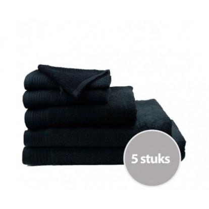 Dagaanbieding The One Badhanddoeken Deluxe 70x140 Voordeelpakket (5 stuks) - Zwart