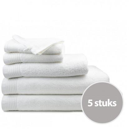 Dagaanbieding The One Badhanddoeken Deluxe 70x140 Voordeelpakket (5 stuks) - Wit