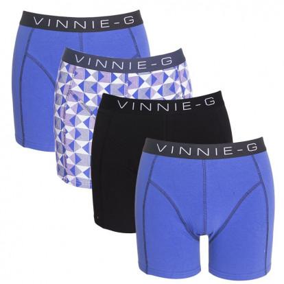 Vinnie-G boxershorts Royal Blue-Print-Black 4-pack