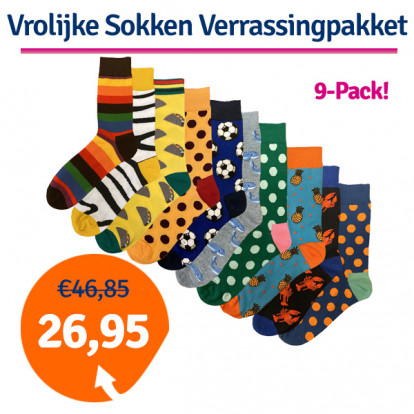 Dagaanbieding Vrolijke Sokken Verrassingspakket 9-pack
