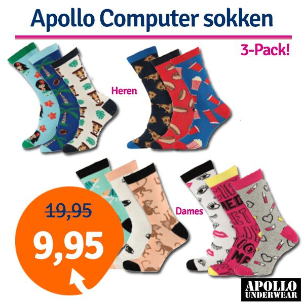 Dagaanbieding Apollo Computer sokken 3-pack