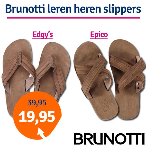 Dagaanbieding leren Brunotti heren slippers