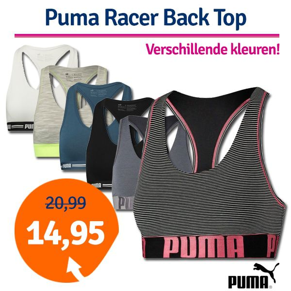 Puma Dames Yarn Dyed Mini Stripe Racer Back Bra Lichtblauw/Grijs-S