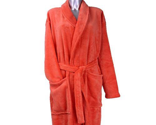 Clarysse Fleece badjas met sjaalkraag Corail-L
