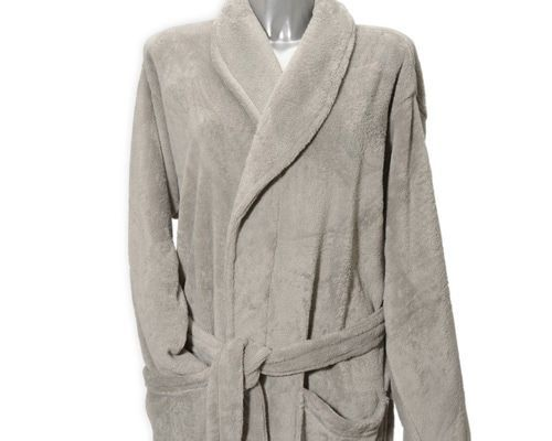 Clarysse Fleece badjas met sjaalkraag Lichtgrijs-XL