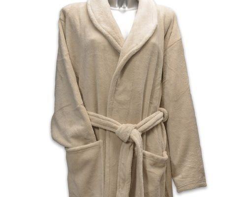 Clarysse Fleece badjas met sjaalkraag Zand