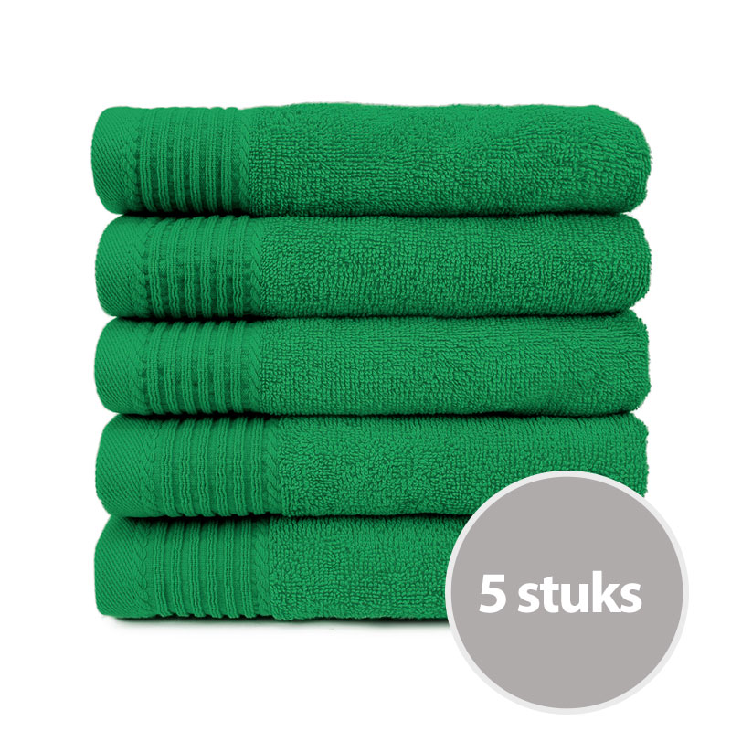 The One Handdoek 450 gram 50x100 cm Groen (5 stuks)