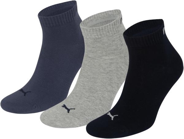 Puma sokken Quarter marine-grijs-blauw 3-pack