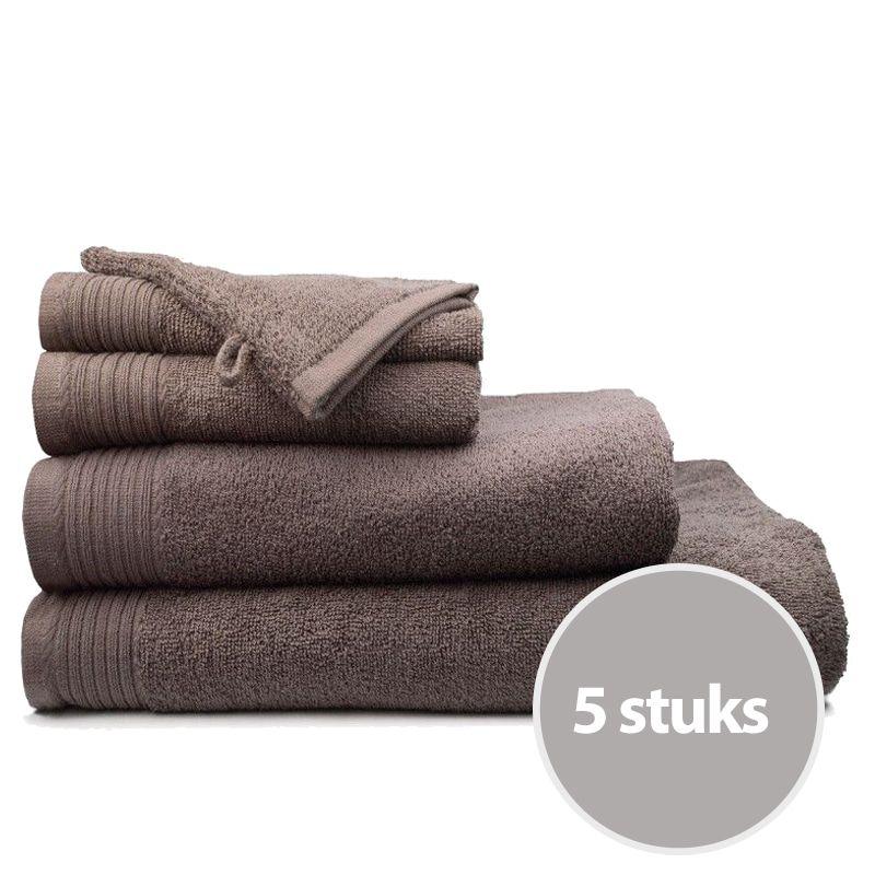 The One Handdoek Deluxe Voordeelpakket 50x100 550 gr Taupe (5 stuks)