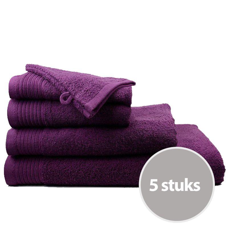 The One Handdoek Deluxe Voordeelpakket 50x100 550 gr Plum (5 stuks)