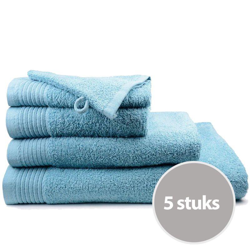 The One Handdoek Deluxe Voordeelpakket 50x100 550 gr Petrol (5 stuks)