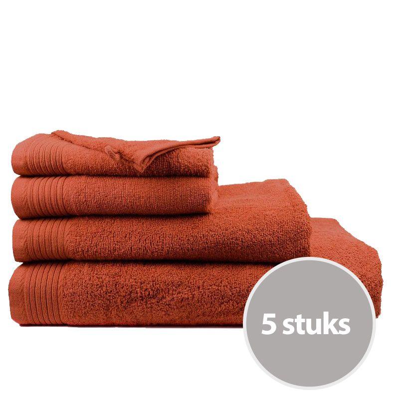 The One Handdoek Deluxe Voordeelpakket 50x100 550 gr Terra Spice (5 stuks)