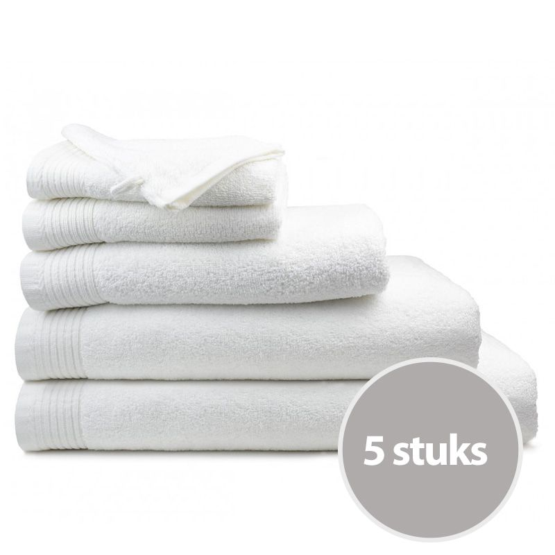The One Handdoek Deluxe Voordeelpakket 50x100 cm 550 gr Wit (5 stuks)