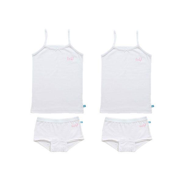 Lief! Ondergoedset Meisjes Sp.Shirts + Shorts White