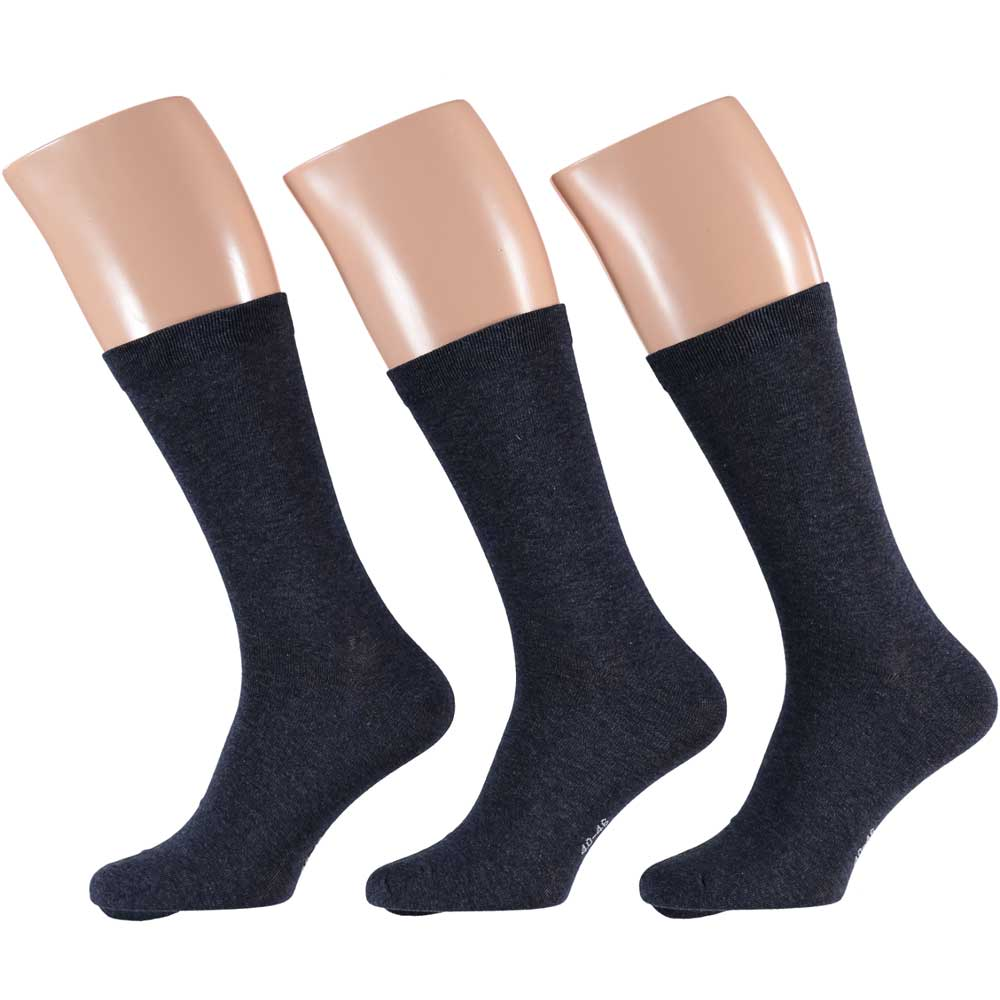 Apollo Heren Uni Katoen sokken navy 40/46 3-pack