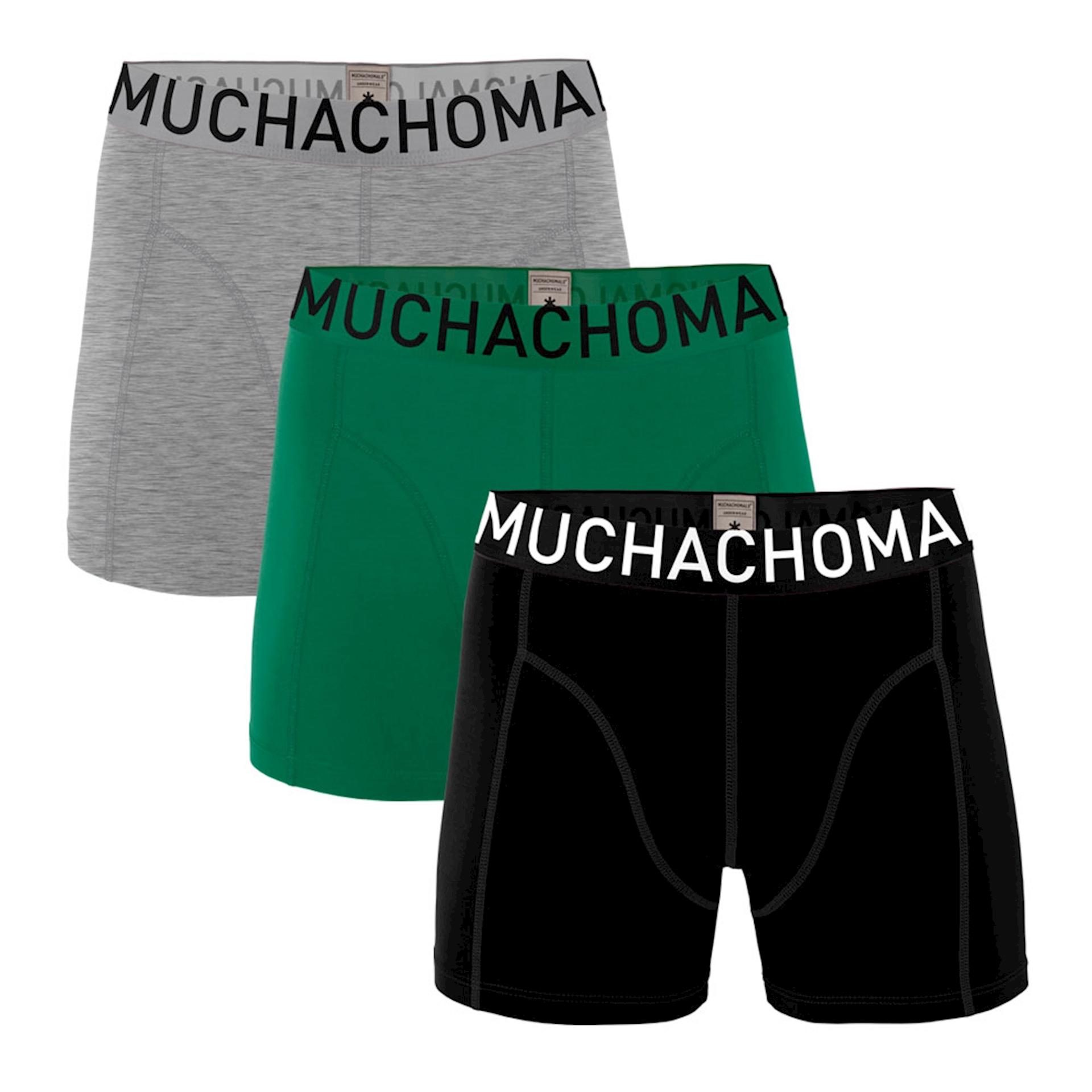 Muchachomalo boxershorts Solid Black/Green/Grey Melange 3-pack