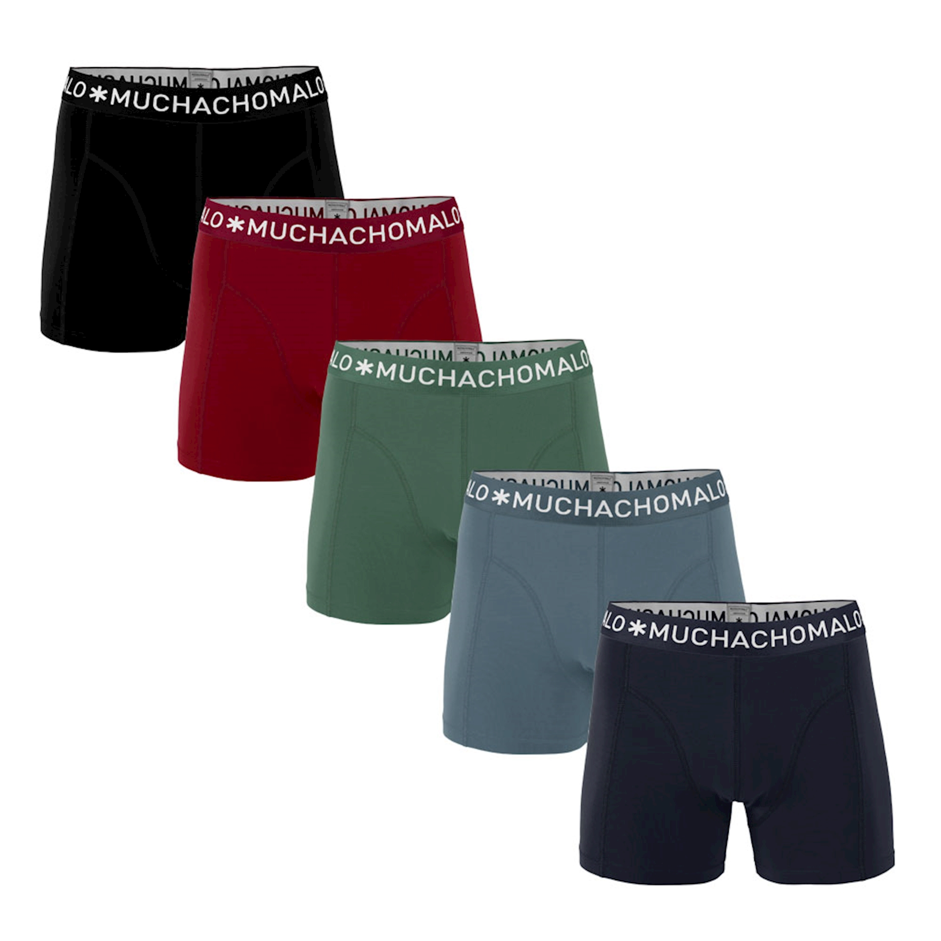 Muchachomalo Boxershorts Solid Navy Grey/Blue/Army Red/Black 5-pack-S