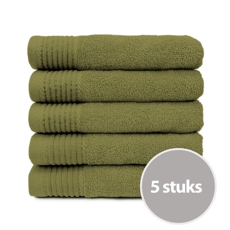 The One Handdoek 50x100 cm 450gram Olive Green (5 stuks)