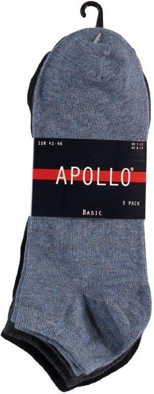 Apollo Heren Sneakersokken Uni Navy 5-pack-41-46