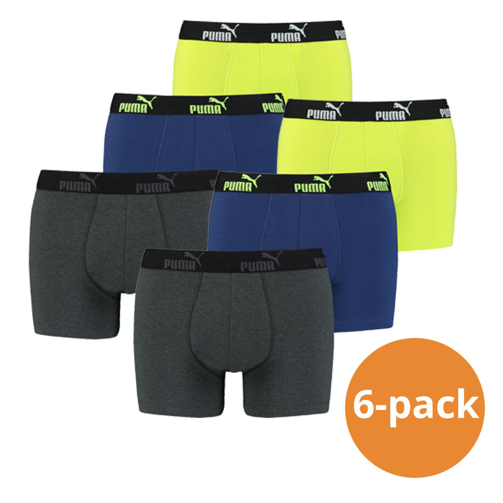 Puma Boxershorts Grey Melange Yellow 6-pack