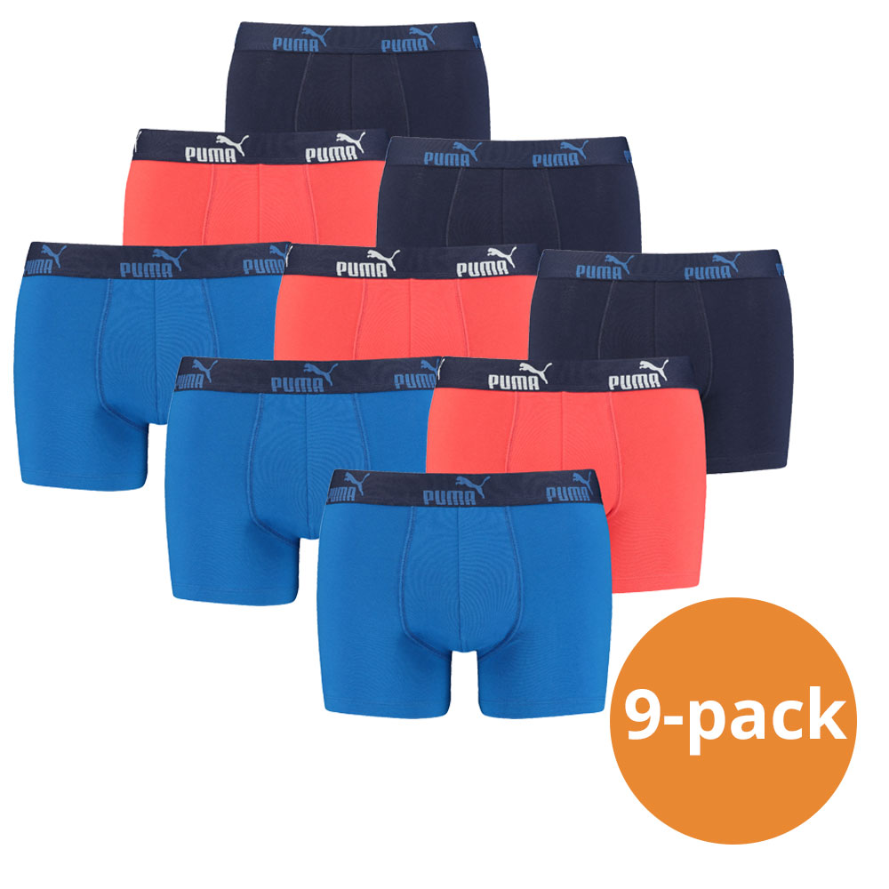 Puma Boxershorts Blue Red 9-pack-S