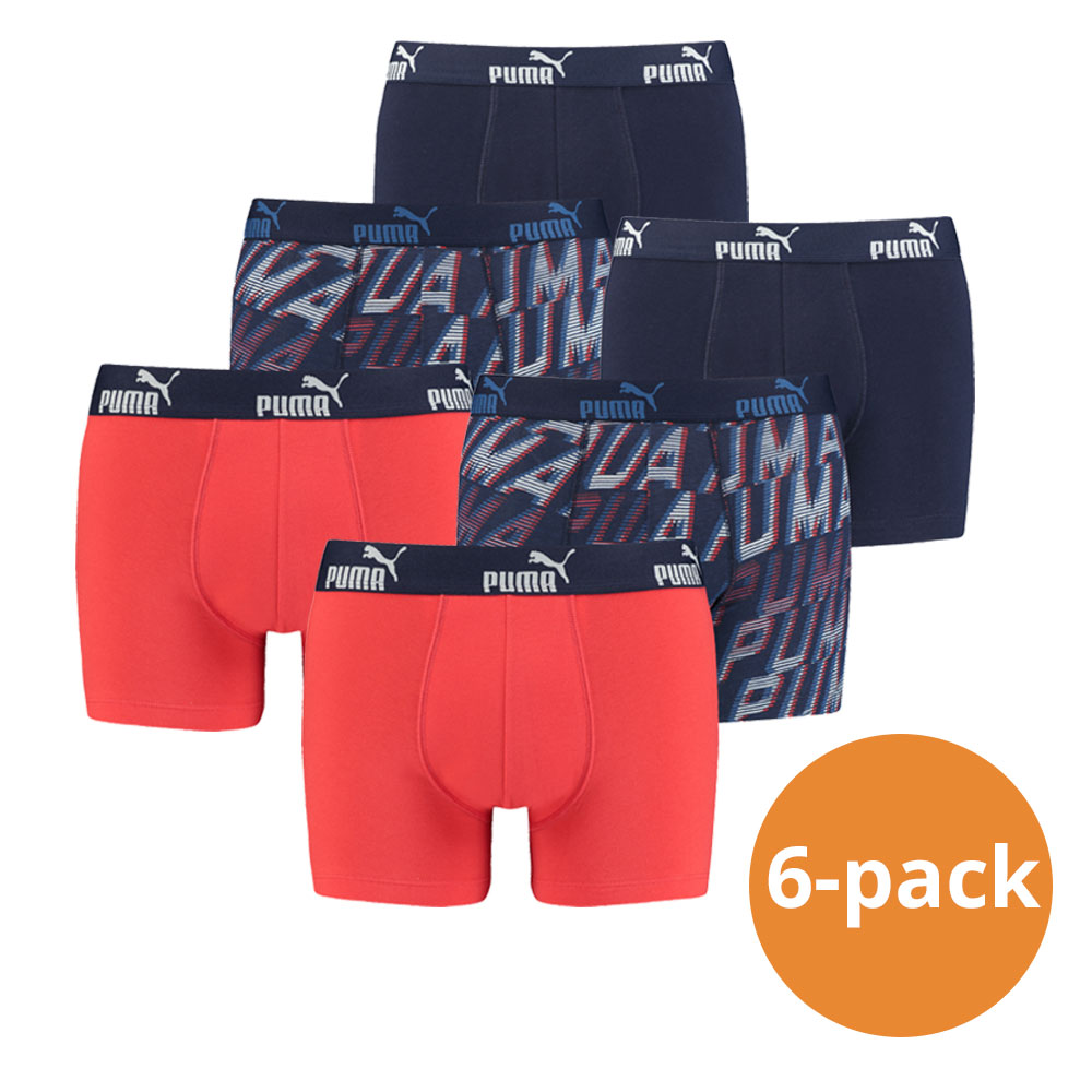 Puma Boxershorts Red Blue Print 6-pack