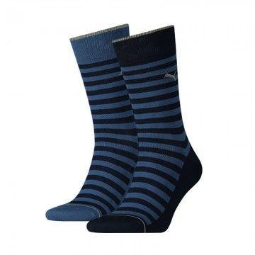 Puma 2-pack Classic Sock Men Denim Blue Stripe