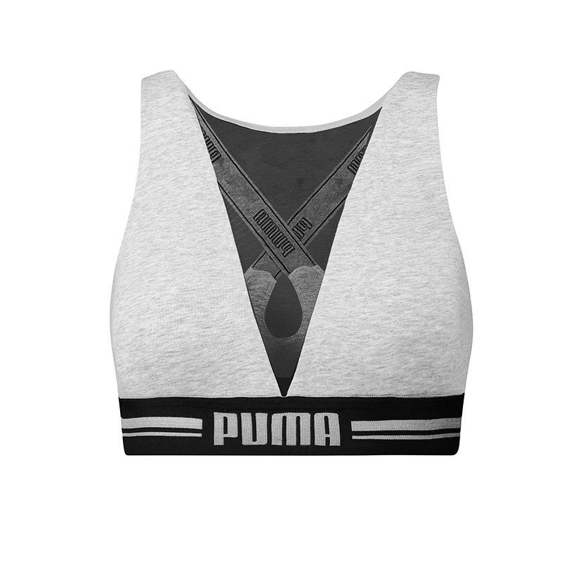 Puma Dames High Neck Bra met Mesh Grijs-S
