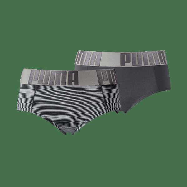 Puma Dames Minishort Yarn Dyed Stripe lichtblauw/grijs 2-pack-XS
