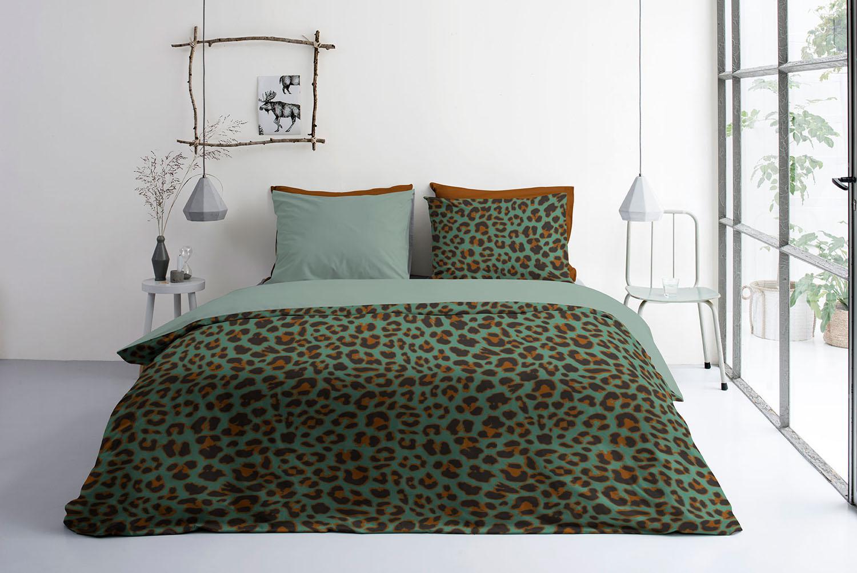 BYRKLUND Dekbed Overtrek Lazy Leopard Groen, 200x220 +20+2x60x70