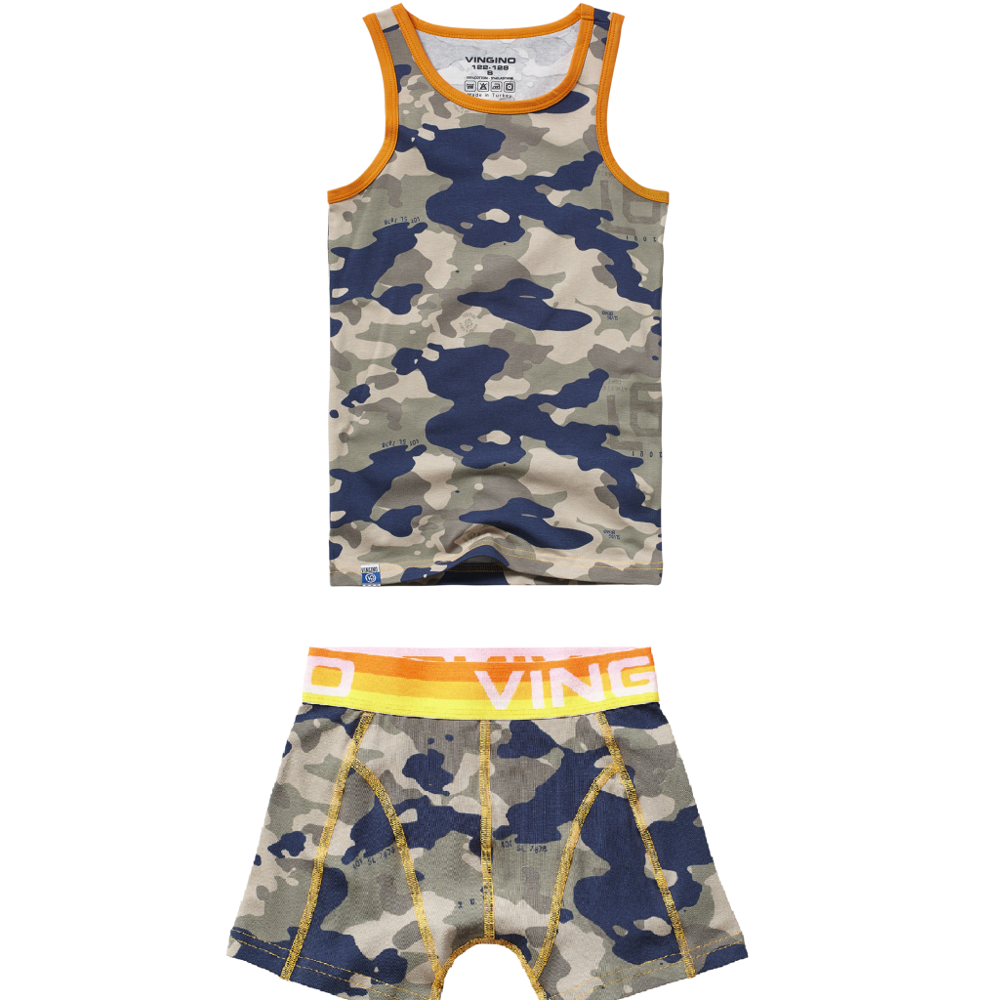 Vingino Boys Short + Singlet Camorange Army Green XS