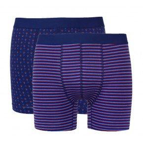 Ten Cate Boxers blauw/rood gestreept 2-Pack