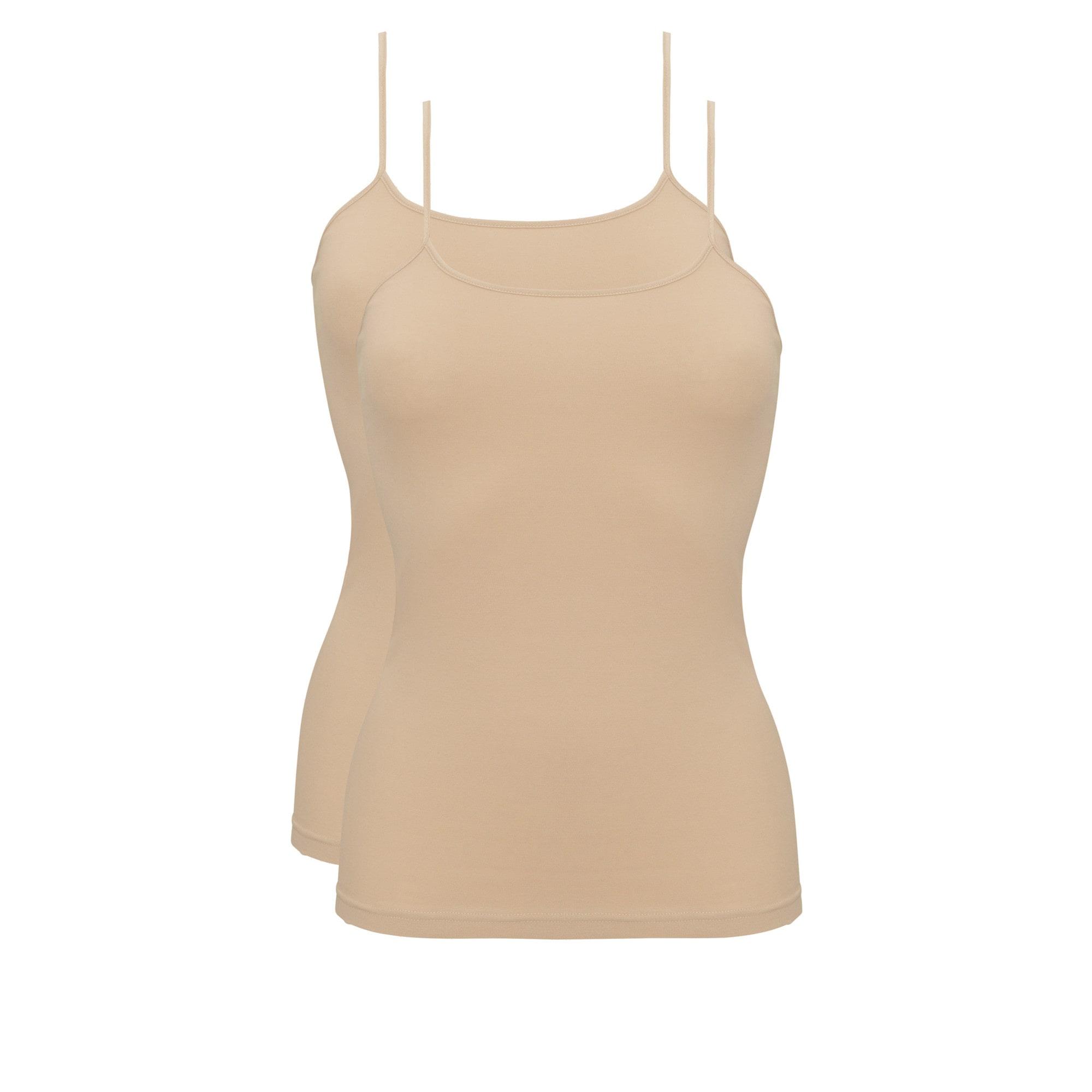 Ten Cate Basic Cotton spaghetti Shirt 2-pack Tan-L