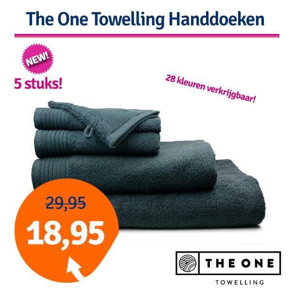 The One Handdoek Voordeelpakket 450 gram 50x100 cm Azure Aqua (5 stuks)